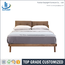 Latest wooden frame fabric double bed designs DL-E12