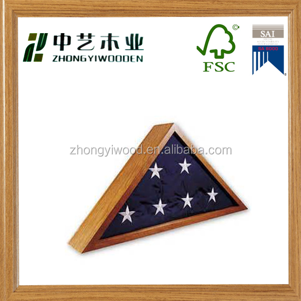 Wholesale new arrive high quality triangle shaped custom handmade wooden flag box