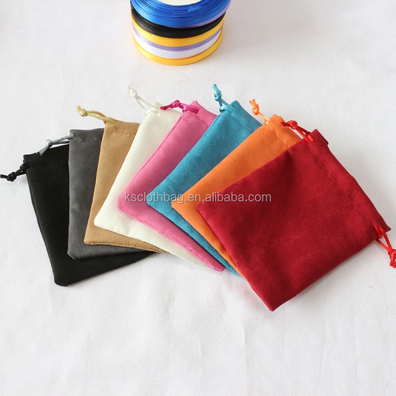 various colors cheap velvet pouch bag , custom printed drawstring velvet jewelry bag