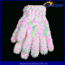 HZS-13159 Ladies knitted girls pink feather yarn magic gloves and mittens