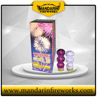 fireworks triple shells with peony, dalia, chry and color stars shining