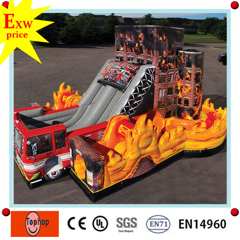 factory direct commercial big kahuna used fire truck inflatable water slide for sale