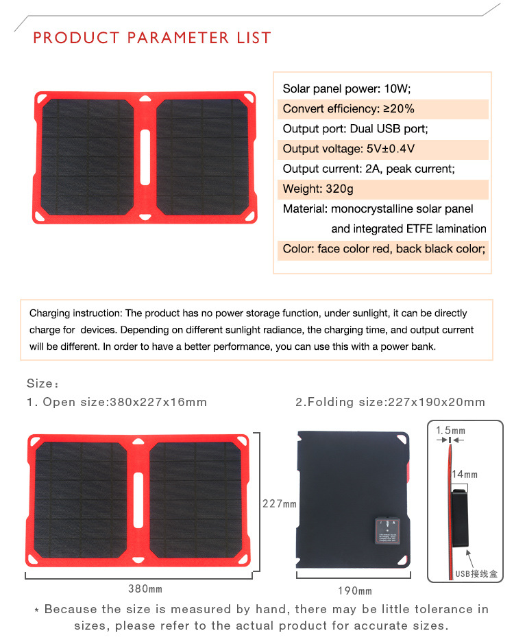 Solar Panel Backpack solar powered charger 10w