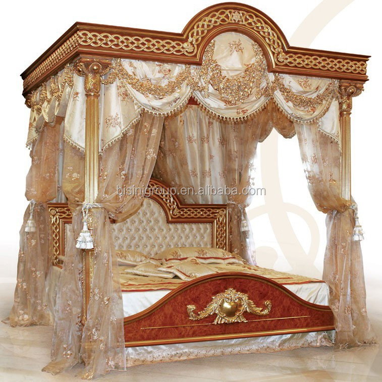 Luxury Bedroom Furniture Wooden Bedroom Set Antique Canopy Bed