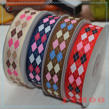 Wholesale Colorful British Style Polyester Grosgrain Plaid Ribbon