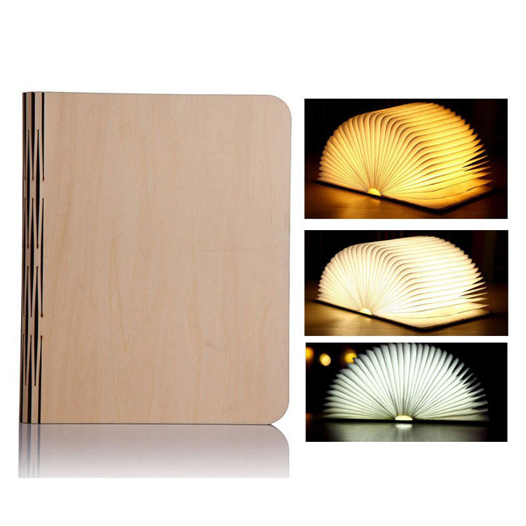 Solid Wood Page Turning USB Charging LED Folding Four Colours Book Night Light
