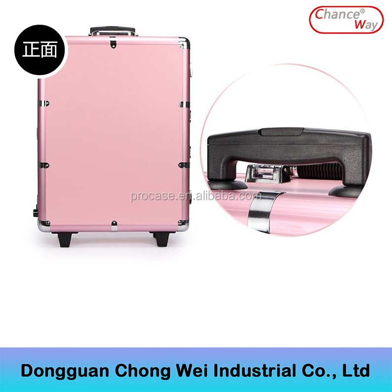 Aluminum trolley cosmetic make up case, aluminum rolling case