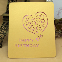 Wholesale gold foil greeting card heart shape handmade greeting card