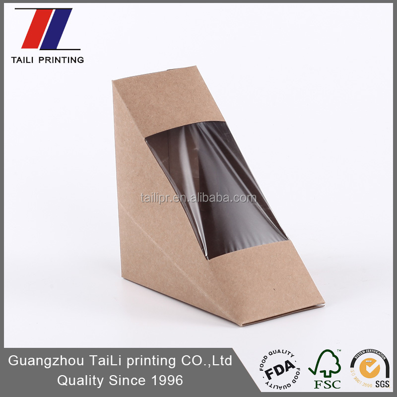 Custom-made sandwich wedge package folding paper sandwich box