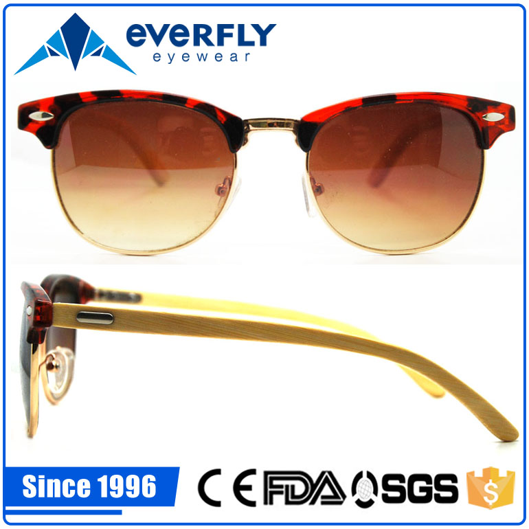 beautiful stylish custom design metal acetate front sunglass slim temple bamboo wood sunglasses