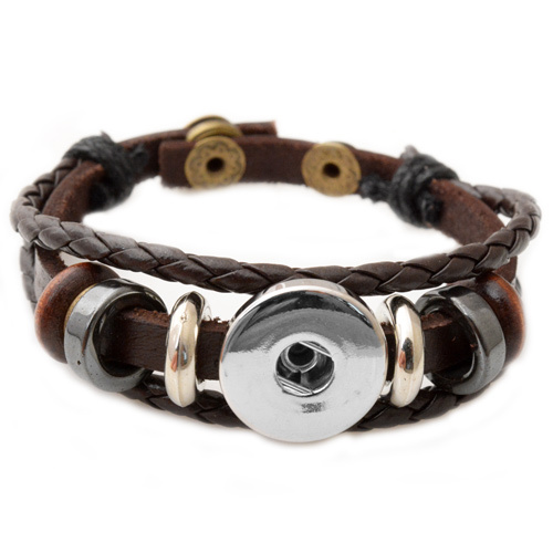 P00646 Wholesale Snap Button Bracelet&Bangles 10 color High quality leather Bracelets For Women 18mm Rivca Snap Button Jewelry