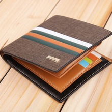 wholesale small order stock men's casual short striped bifold PU <strong>wallet</strong>