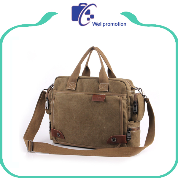 Khaki Men's Canvas and Genuine Leather Briefcase Messenger Bag for Business