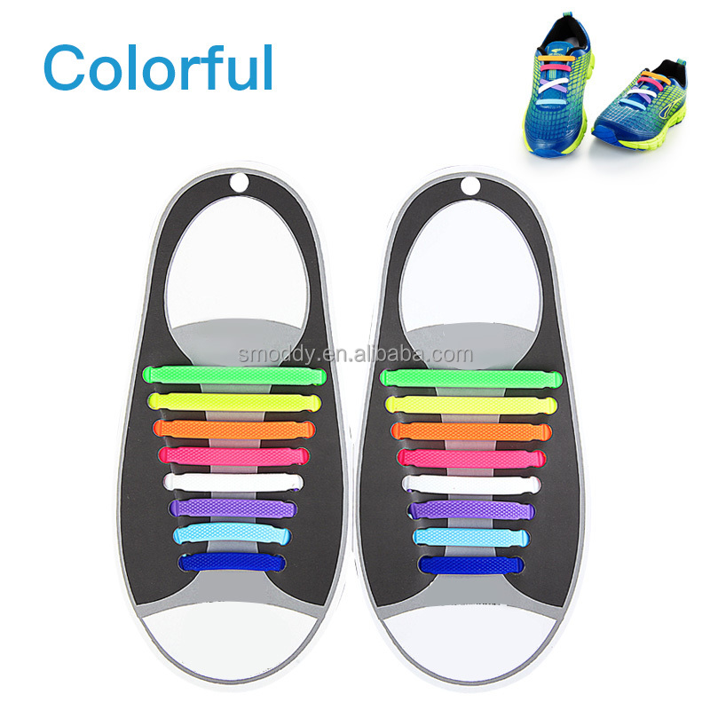 Factory direct Lazy No Tie Silicone Shoelace Rubber Elastic Slip Sneaker Shoe Laces Running Shoelaces