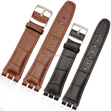 Swatch 18 20mm Genuine Leather Watch Band Replacement Calf Leather Watch Strap With Stitching