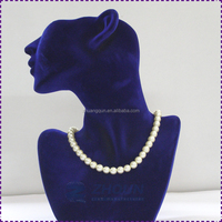 Polyresin+fabric sided head model bust jewelry neck display