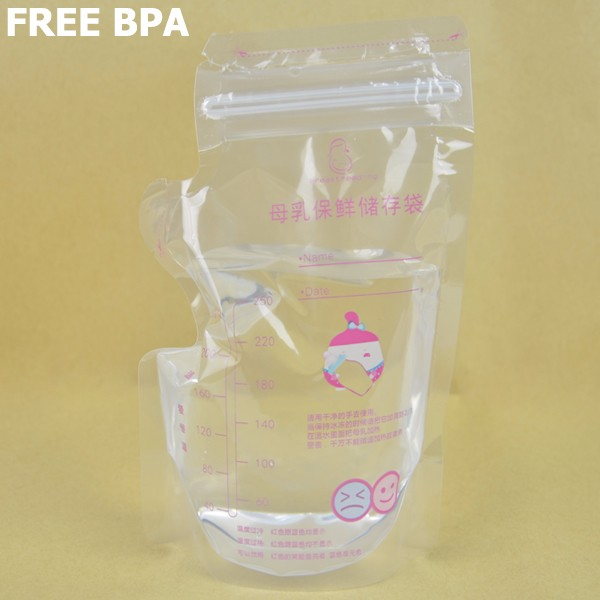 200ML Spout pouch baby food plastic liquid breast milk storage bag with zip lock