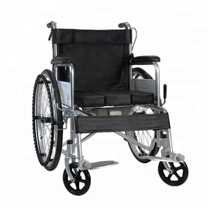 ISO9001 Hospital home steel portable black wheelchair manual