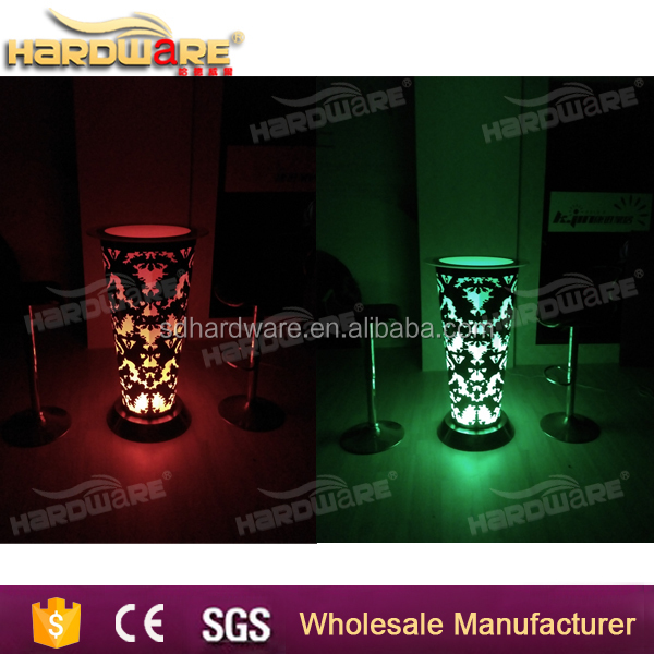 led illuminated furniture led mini light up bar table stainless steel base