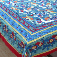 Indian LOVE BIRDS multicolored hand block printed TABLECLOTH