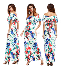 ankle length off shoulder sexy women summer long dress digital printed flower printing pattern