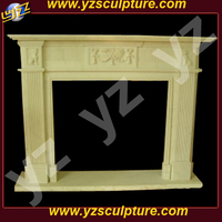 Decor Hand carved white marble Fireplace Mantle with stone column