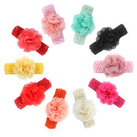 Plain Wide Crochet Flower Fabric Baby Girls Stretch Headbands