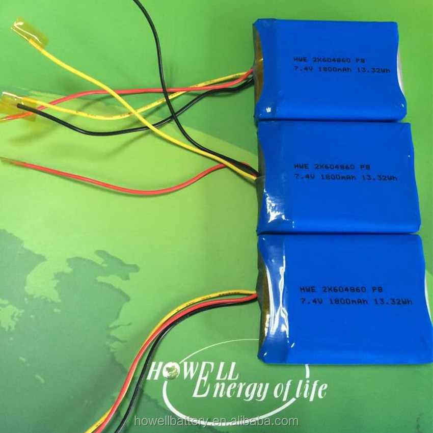 CE RoHS Certificated 7.4v 2x604860 1800mah Lipo Battery / 7.4V 1800mAh Lithium Polymer Battery