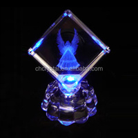 LED laser crystal angle cube for wedding and souvenior gift MH-TF007