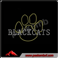 Black cats Paw Rhinestone Heat Transfers Design For Kids