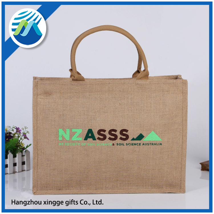 Natural Jute Burlap Tote bag with Cotton webbed handles