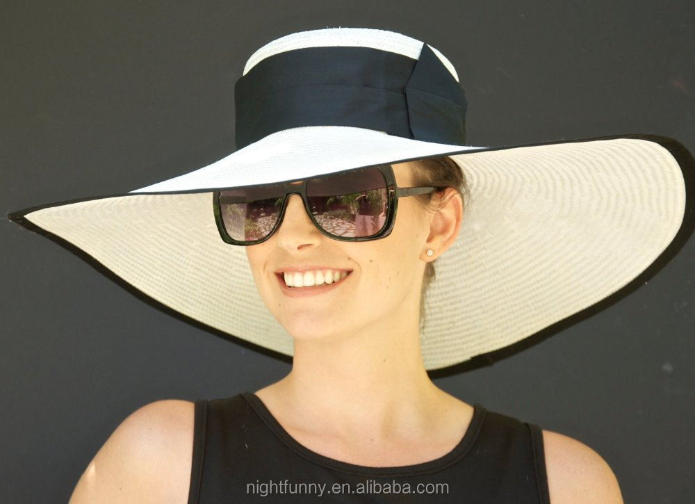 Wide Brim Hat, Kentucky Derby Hat. Black and white hat. Wedding Hat, Church Hat, Cream Ivory hat, Ascot Hat. Dressy formal hat