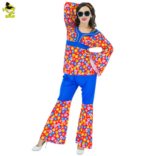 Adult 60s 70s Hippie Costume With Flower Printing Fancy Party Dress Costumes