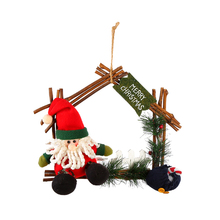 wholesale natural wooden decorated hanging christmas wreath in house shape with pine needles and dolls