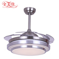 42 Inch Crystal Remote Control 4 Blades Hidden Ceiling Fan With Lamp Light