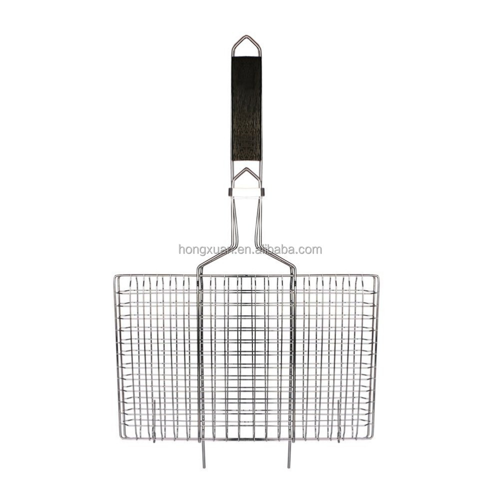 Nonstick Fish Grilling Basket Folding for Roast BBQ Barbecue with Wood Handle