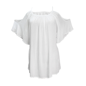 White Color Short Sleeve Lady Tops For Women