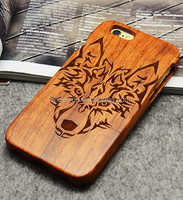 Laser engrave wood grain cell phone case cool Wolf head shape custom wood cases for iphone 5 5C 5S 5se