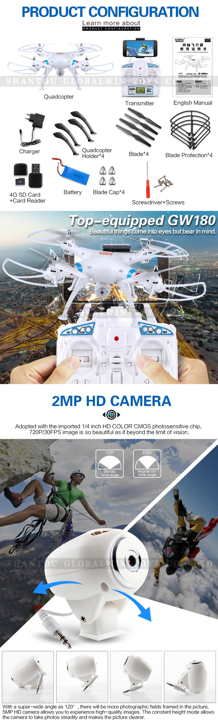 New arrived RC FPV Drone GW180HC/ GW180HW ,6 Gyro Stable Quadcopter with camera One Key Return and One Key Up & Down Function