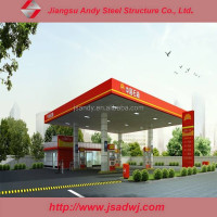 Prefabricated Gas Station Steel Frame Canopy