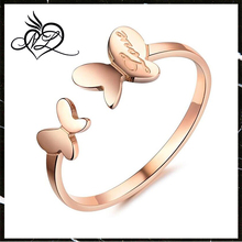 Jewelry Womens Love Stainless Steel Lovely Butterfly Ring Wedding Charming Lady Gril Band Rose Gold