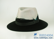 Dip dye design fedora hats, leather band wool felt hats, hat factory