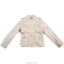 OEM Service Supply Factory Custom Beige Fashionable Women Spring Leather Jacket