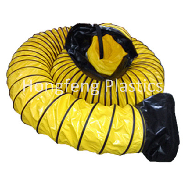 yellow PVC round hose pipe/insulation air duct in HVAC systems