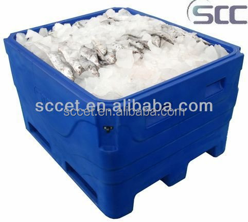 Fish storage container within ice, fish tub, insulated fish bin