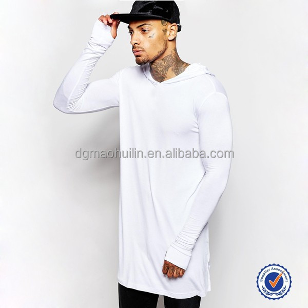 Men apparel longline long sleeve t shirt with hood men for Boys long sleeve shirt with hood