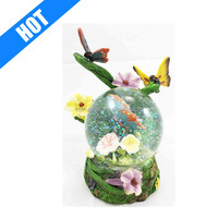 customized handmade resin butterfly water globe and snow globe