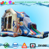 slam dunk inflatable bounce house bouncer slide with safety netting combo for adult n kid
