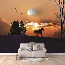 En gros personnalisé numérique imprimé forêt tenture murale façon tapisserie pour la maison lit dortoir salon chambre