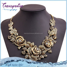Fashion women's flower design vintage gold <strong>necklace</strong> with crystal